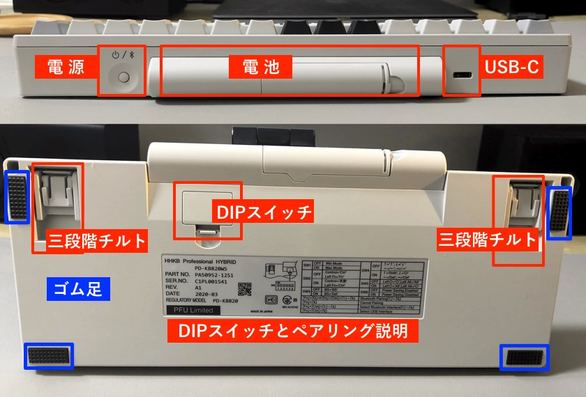 HHKB-Type-S本体の機能説明画像