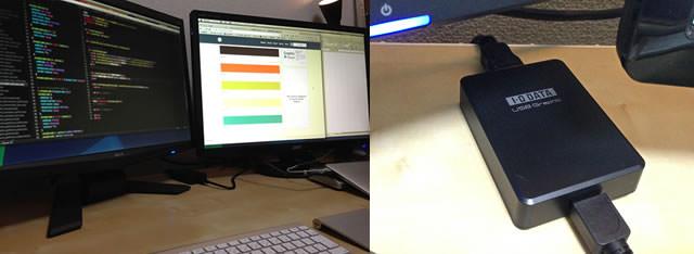 MacBookAirからディスプレイアダプターで2台目のモニターに接続している画像
