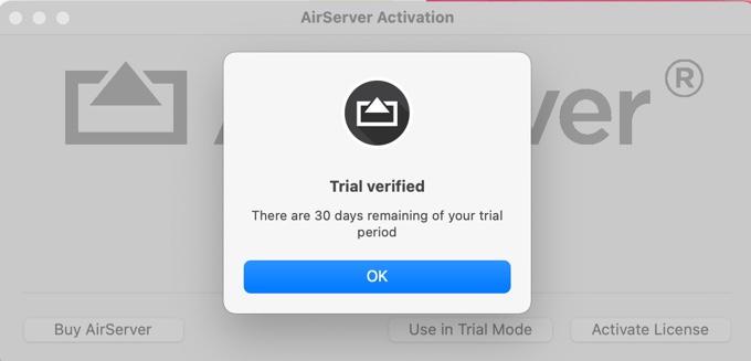 AirServer.appの試用期間時の起動画面