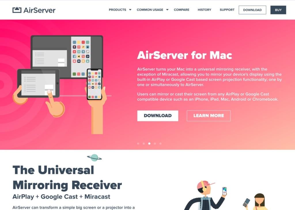 AirServerのトップページイメージ