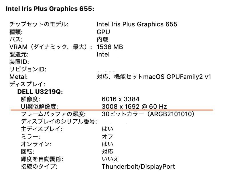 U3219Q解像度の確認イメージ