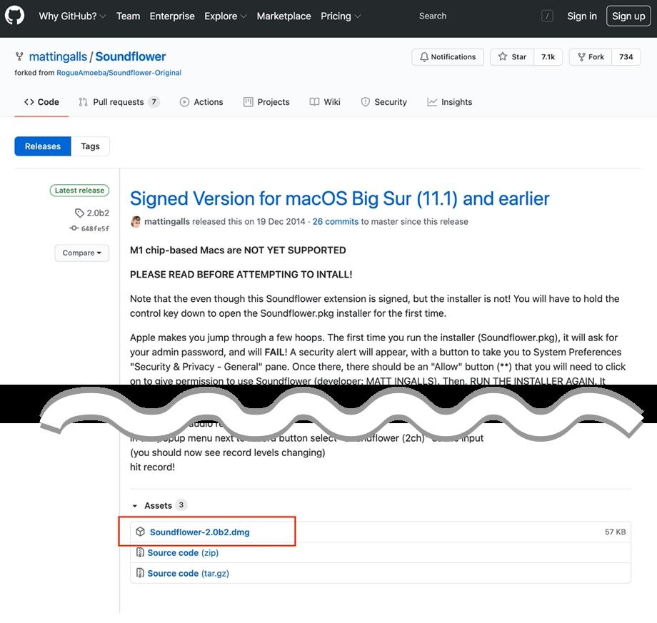 GitHubのSoundFlowerダウンロードページのイメージ画像