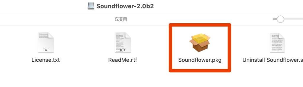 Soundflower-2.0b2.dmgの中身の説明画像
